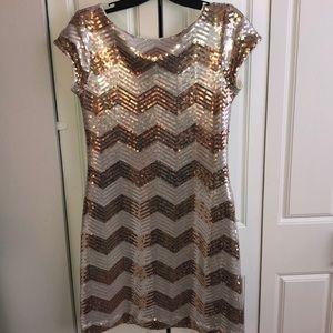 Silver & Gold sequin mini dress